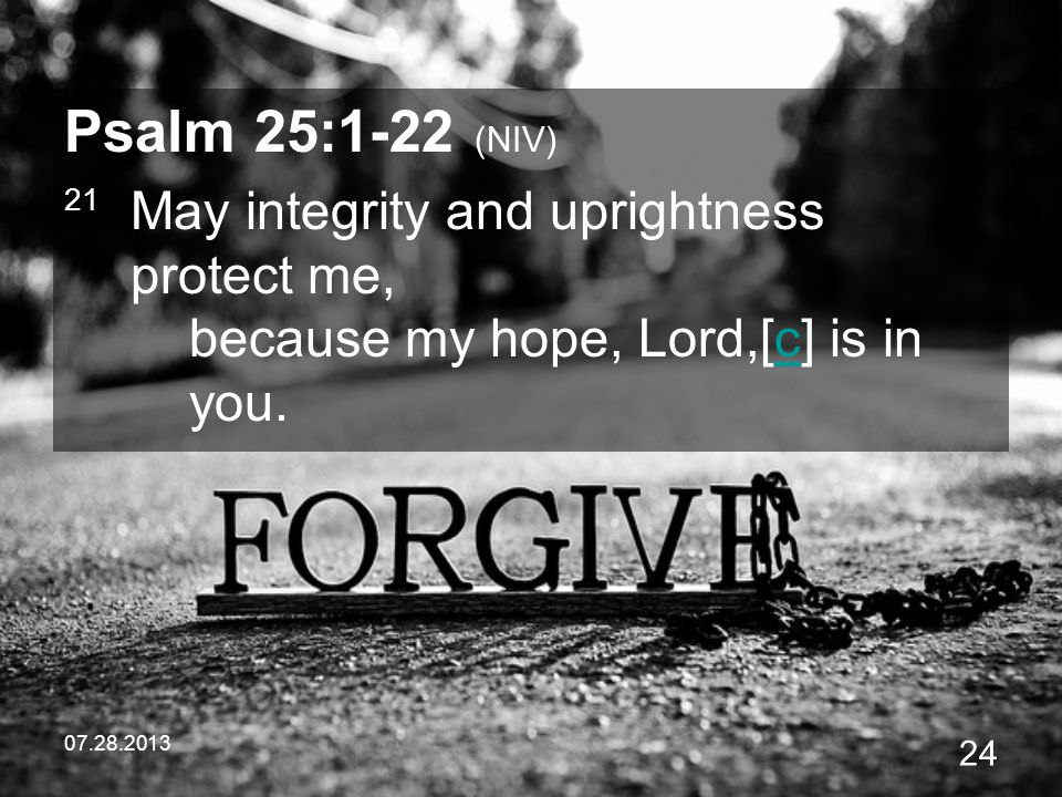 Psalm 25:1-22 (NIV) 21 May integrity and uprightness protect me, because my hope, Lord,[c] is in you.